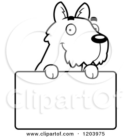 Cartoon of a Black And White Cute Scottish Terrier Puppy over a Sign - Royalty Free Vector Clipart by Cory Thoman