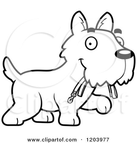 Cartoon of a Black And White Cute Scottish Terrier Puppy Carrying a Leash - Royalty Free Vector Clipart by Cory Thoman
