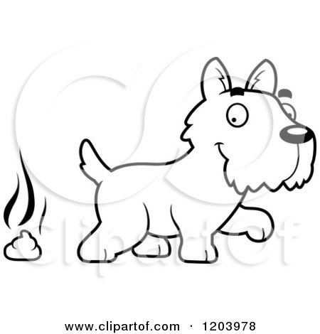 Cartoon of a Black And White Cute Scottish Terrier Puppy and a Pile of Dog Poop - Royalty Free Vector Clipart by Cory Thoman