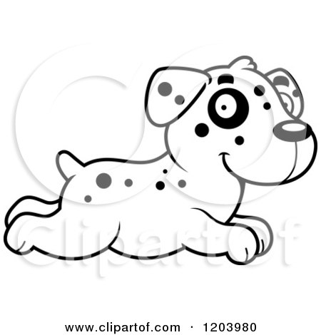 Cartoon of a Black and White Cute Dalmatian Puppy Running - Royalty Free Vector Clipart by Cory Thoman