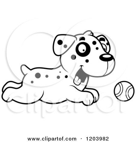 Cartoon of a Black and White Cute Dalmatian Puppy Chasing a Tennis Ball - Royalty Free Vector Clipart by Cory Thoman