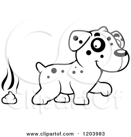 Cartoon of a Black and White Cute Dalmatian Puppy and Pile of Poop - Royalty Free Vector Clipart by Cory Thoman
