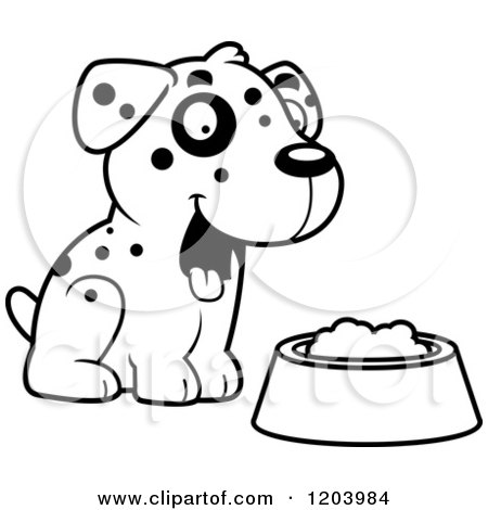 Cartoon of a Black and White Cute Dalmatian Puppy Sitting by Dog Food - Royalty Free Vector Clipart by Cory Thoman