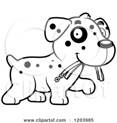 Cartoon of a Black and White Cute Dalmatian Puppy Carrying a Leash - Royalty Free Vector Clipart by Cory Thoman