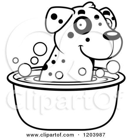 Cartoon of a Black and White Cute Dalmatian Puppy Taking a Bath - Royalty Free Vector Clipart by Cory Thoman