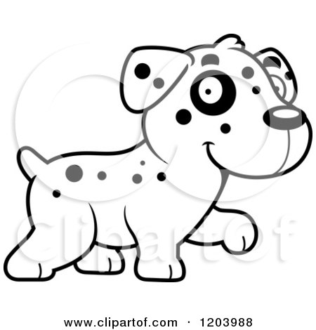 Cartoon of a Black and White Cute Dalmatian Puppy Walking - Royalty Free Vector Clipart by Cory Thoman