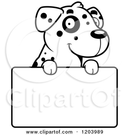 Cartoon of a Black and White Cute Dalmatian Puppy over a Sign - Royalty Free Vector Clipart by Cory Thoman