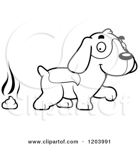Cartoon Clipart Of A Black And White Stinky Pile Of Poop