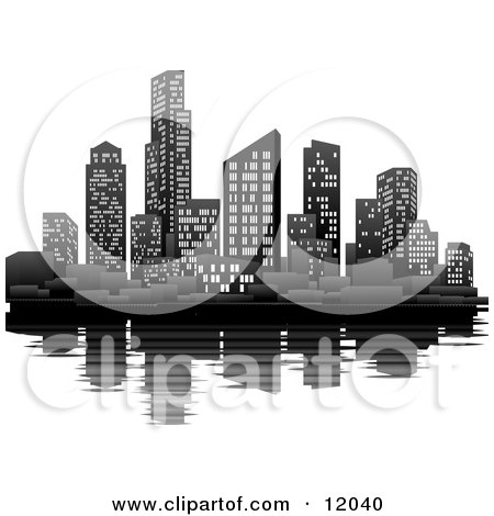Illuminated City at Night on the Waterfront With the Skyscraper Office Buildings Reflecting in the Water Clipart Picture by AtStockIllustration
