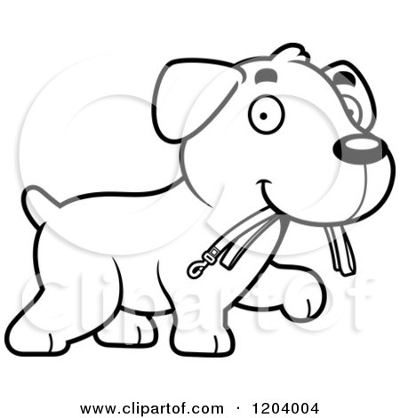 Cartoon of a Black and White Cute Labrador Puppy Carrying a Leash - Royalty Free Vector Clipart by Cory Thoman