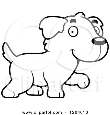 Cartoon of a Black And White Cute Golden Retriever Puppy Walking - Royalty Free Vector Clipart by Cory Thoman