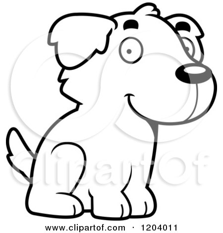 Cartoon of a Black And White Cute Golden Retriever Puppy Sitting - Royalty Free Vector Clipart by Cory Thoman