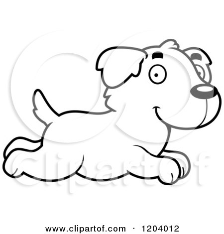Cartoon of a Black And White Cute Golden Retriever Puppy Running - Royalty Free Vector Clipart by Cory Thoman