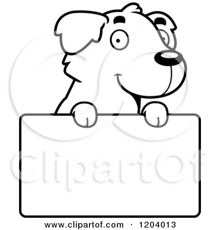 Cartoon of a Black And White Cute Golden Retriever Puppy over a Sign - Royalty Free Vector Clipart by Cory Thoman