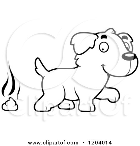 Cartoon of a Black And White Cute Golden Retriever Puppy with Dog Poop - Royalty Free Vector Clipart by Cory Thoman
