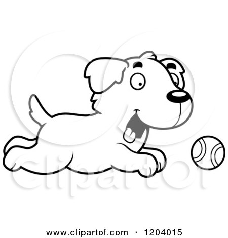 Cartoon of a Black And White Cute Golden Retriever Puppy Chasing a Tennis Ball - Royalty Free Vector Clipart by Cory Thoman