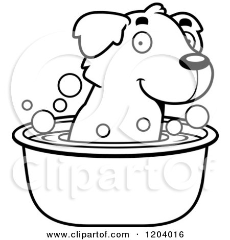 Cartoon of a Black And White Cute Golden Retriever Puppy Taking a Bath - Royalty Free Vector Clipart by Cory Thoman
