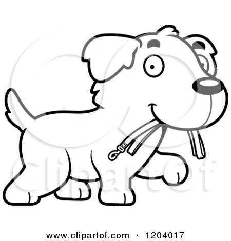 Cartoon of a Black And White Cute Golden Retriever Puppy Carrying a Leash - Royalty Free Vector Clipart by Cory Thoman
