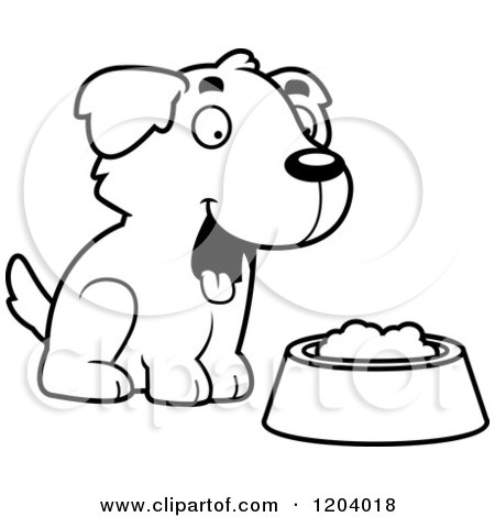 Cartoon of a Black And White Cute Golden Retriever Puppy with Food - Royalty Free Vector Clipart by Cory Thoman