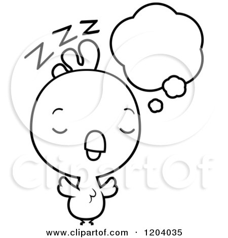 Cartoon of a Black And White Cute Baby Rooster Dreaming - Royalty Free Vector Clipart by Cory Thoman
