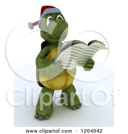 Clipart of a 3d Tortoise Singing Christmas Carols - Royalty Free CGI Illustration by KJ Pargeter