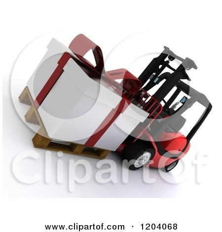 Clipart of a 3d Christmas Delivery Gift Present on a Red Forklift - Royalty Free CGI Illustration by KJ Pargeter