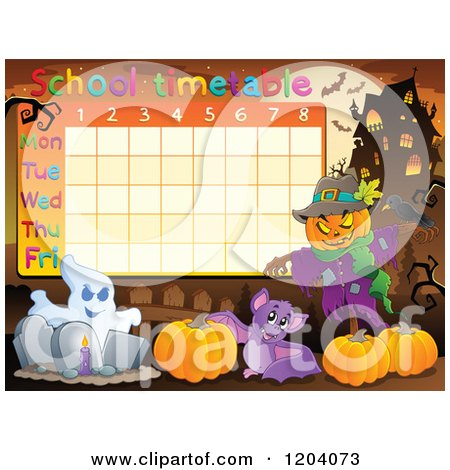 Cartoon of a Halloween School Time Table - Royalty Free Vector Clipart by visekart