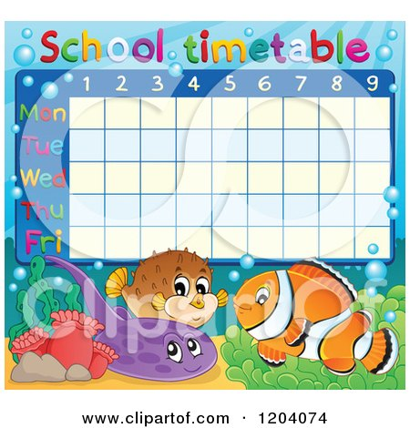 Cartoon of a Marine Fish School Time Table - Royalty Free Vector Clipart by visekart