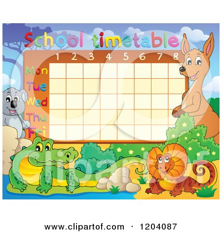 Cartoon of a School Time Table with Australian Animals - Royalty Free Vector Clipart by visekart