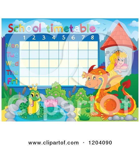 Cartoon of a Fairy Tale School Time Table - Royalty Free Vector Clipart by visekart