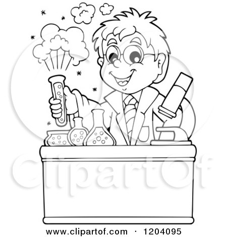 Cartoon of a Black and White Scientist Boy Experimenting with Chemicals - Royalty Free Vector Clipart by visekart