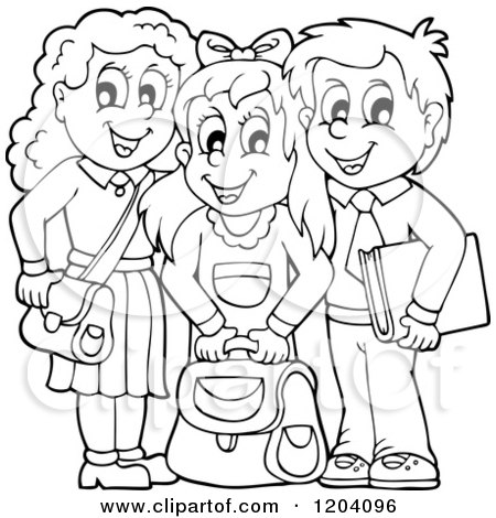 Cartoon of Black and White Happy School Children with ...