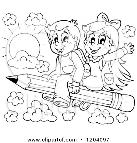 Cartoon of Black and White Happy School Children Flying on ...