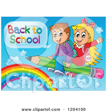 Cartoon of Happy School Children Saying Back to School and Flying on a Pencil over a Rainbow - Royalty Free Vector Clipart by visekart
