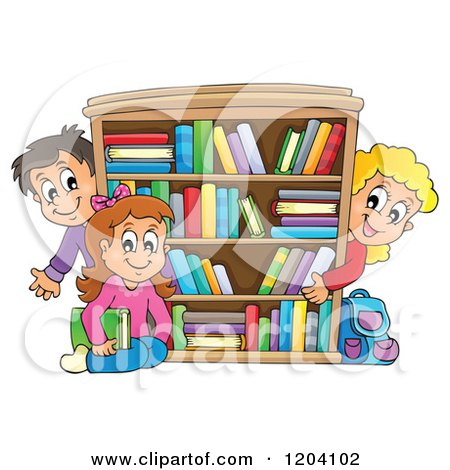 Cartoon of Happy School Children Around a Book Shelf - Royalty Free Vector Clipart by visekart
