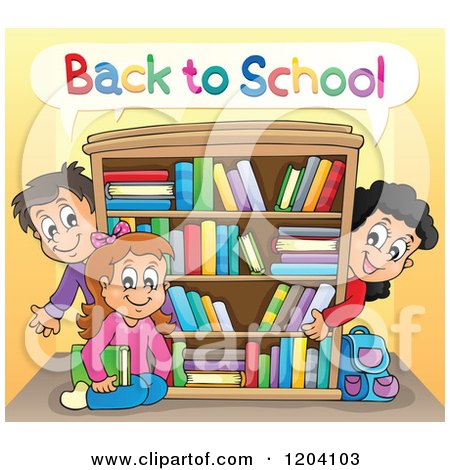 Cartoon of Happy Back to School Children Around a Book Shelf - Royalty Free Vector Clipart by visekart