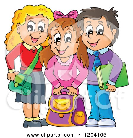 Cartoon of Happy School Children with Their Bags - Royalty Free Vector Clipart by visekart