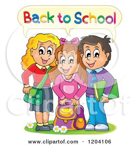 Cartoon of Happy Students Saying Back to School - Royalty Free Vector Clipart by visekart