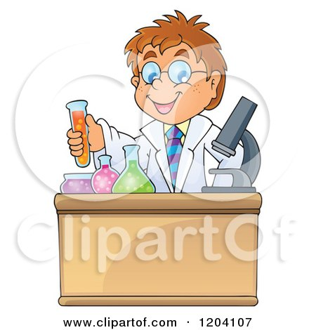 Cartoon of a Smart Scientist Boy Experimenting with Chemicals - Royalty Free Vector Clipart by visekart