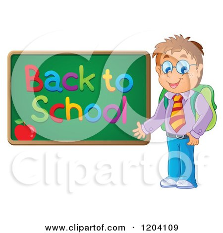 Cartoon of a Happy Male Student Presenting a Back to School Chalkboard - Royalty Free Vector Clipart by visekart