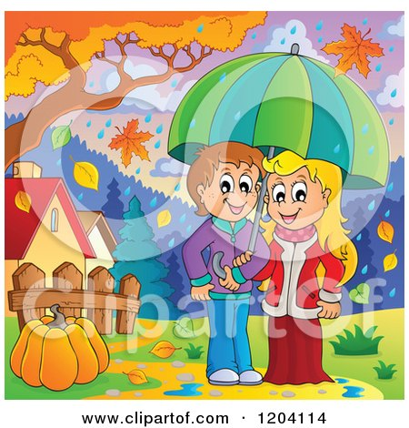 Cartoon of a Happy Children Sheltered from Autumn Rain Under an Umbrella - Royalty Free Vector Clipart by visekart