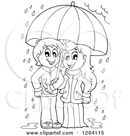 cartoon of a happy black and white children sheltered from the rain under an umbrella royalty free vector clipart by visekart 1204115 royalty free vector clipart by visekart
