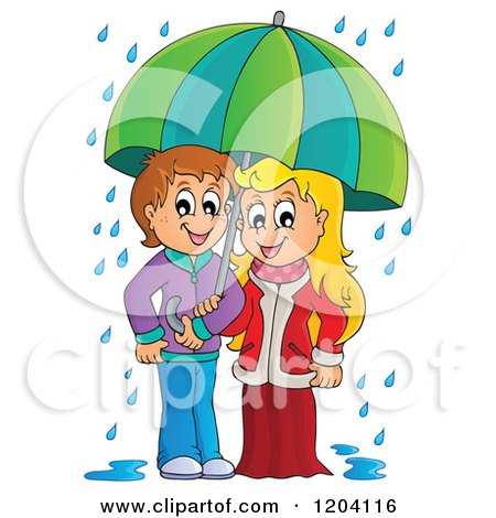 Cartoon Of A Happy Children Sheltered From The Rain Under An Umbrella