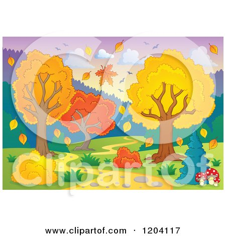 Cartoon of a Hilly Path Leading Through an Autumn Landscape - Royalty Free Vector Clipart by visekart