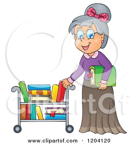 Cartoon of a Happy Senior Librarian Woman Pushing a Book Cart - Royalty Free Vector Clipart by visekart