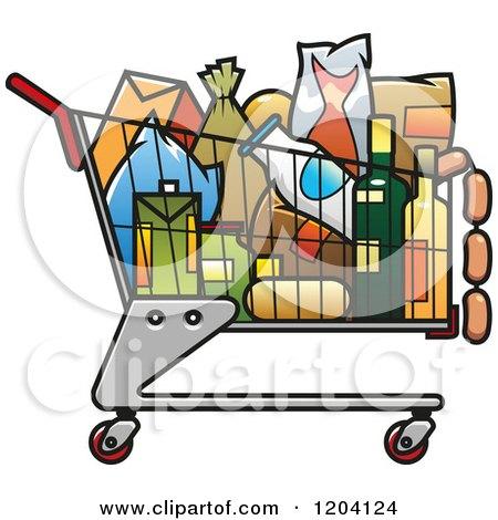 Full Grocery Cart Clipart Shopping Cart Full Of