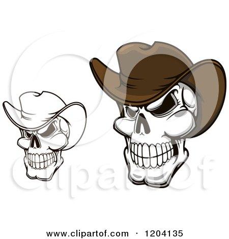 Clipart of Grinning Cowboy Skulls