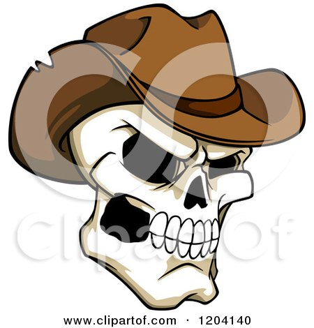 Clipart of a Broken Cowboy Skull with a Brown Hat - Royalty Free Vector Illustration by Vector Tradition SM