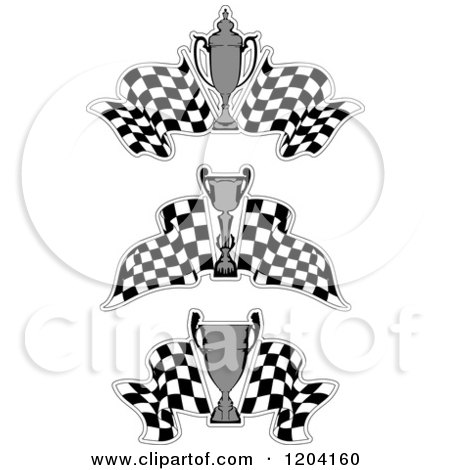 Clipart of Grayscale Motor Sports Trophy Cups and Checkered Racing Flags 2 - Royalty Free Vector Illustration by Vector Tradition SM