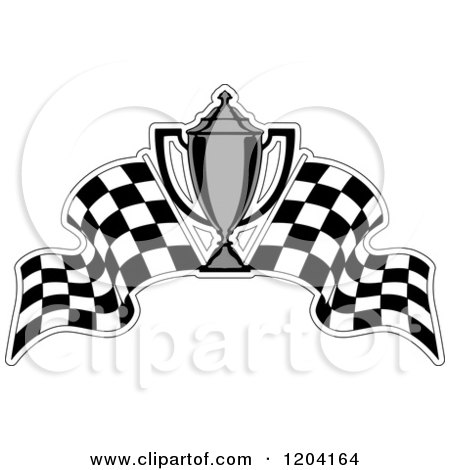 Of grayscale motor sports trophy cups and checkered racing flags 2